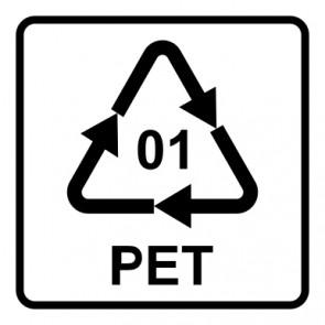 Schild Recycling Code 01 · PET · Polyethylenterephthalat  | viereckig · weiß