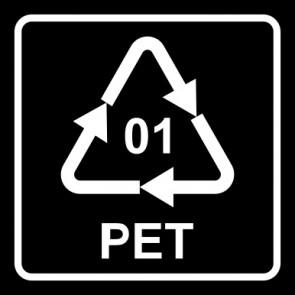 Schild Recycling Code 01 · PET · Polyethylenterephthalat  | viereckig · schwarz