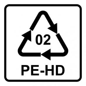 Aufkleber Recycling Code 02 · PEHD · High Density Polyethylen (hochdichtes Polyethylen) | viereckig · weiß