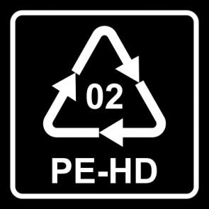 Aufkleber Recycling Code 02 · PEHD · High Density Polyethylen (hochdichtes Polyethylen) | viereckig · schwarz