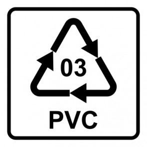 Magnetschild Recycling Code 03 · PVC · Polyvinylchlorid | viereckig · weiß