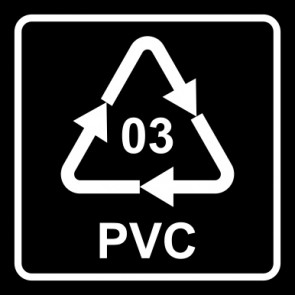 Aufkleber Recycling Code 03 · PVC · Polyvinylchlorid   viereckig · schwarz