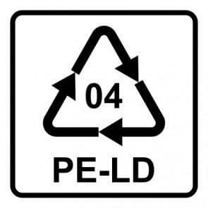Schild Recycling Code 04 · PELD · Low Density Polyethylen (Polyethylen niedriger Dichte) | viereckig · weiß