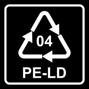 Magnetschild Recycling Code 04 · PELD · Low Density Polyethylen (Polyethylen niedriger Dichte) | viereckig · schwarz