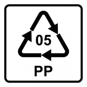Schild Recycling Code 05 · PP · Polypropylen | viereckig · weiß
