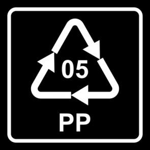Aufkleber Recycling Code 05 · PP · Polypropylen   viereckig · schwarz