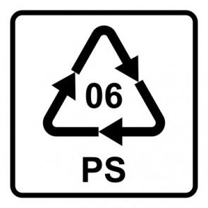 Schild Recycling Code 06 · PS · Polystyrol | viereckig · weiß