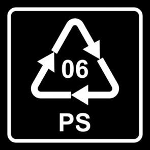 Aufkleber Recycling Code 06 · PS · Polystyrol   viereckig · schwarz