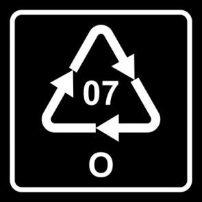 Aufkleber Recycling Code 07 · O · andere Kunststoffe wie Polyamid, ABS oder Acryl   viereckig · schwarz