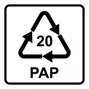 Schild Recycling Code 20 · PAP · Wellpappe | viereckig · weiß