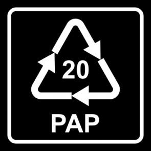 Aufkleber Recycling Code 20 · PAP · Wellpappe   viereckig · schwarz