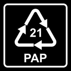 Aufkleber Recycling Code 21 · PAP · sonstige Pappen   viereckig · schwarz