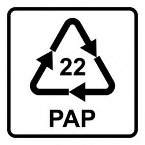 Schild Recycling Code 22 · PAP · Papier | viereckig · weiß