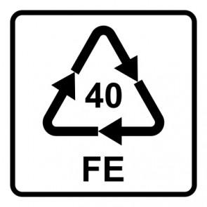 Schild Recycling Code 40 · FE · Eisen/Stahl | viereckig · weiß