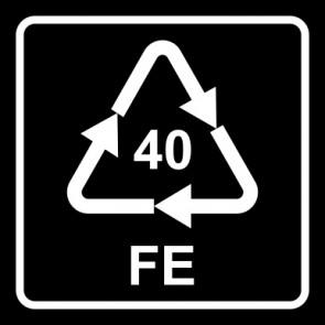 Aufkleber Recycling Code 40 · FE · Eisen/Stahl   viereckig · schwarz