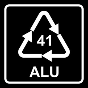 Aufkleber Recycling Code 41 · ALU · Aluminium   viereckig · schwarz