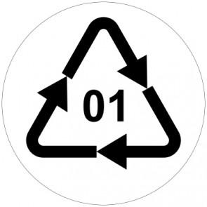 Aufkleber Recycling Code 01 · PET · Polyethylenterephthalat  | rund · weiß