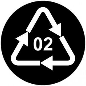 Schild Recycling Code 02 · PEHD · High Density Polyethylen (hochdichtes Polyethylen) | rund · schwarz