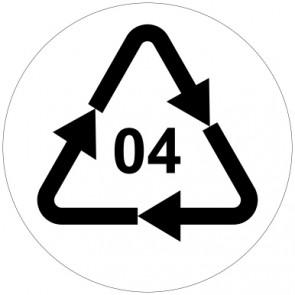 Aufkleber Recycling Code 04 · PELD · Low Density Polyethylen (Polyethylen niedriger Dichte)   rund · weiß