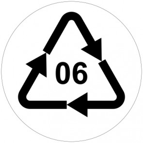 Aufkleber Recycling Code 06 · PS · Polystyrol | rund · weiß