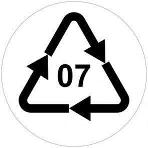 Aufkleber Recycling Code 07 · O · andere Kunststoffe wie Polyamid, ABS oder Acryl | rund · weiß