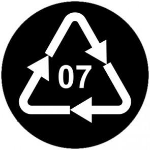 Aufkleber Recycling Code 07 · O · andere Kunststoffe wie Polyamid, ABS oder Acryl | rund · schwarz
