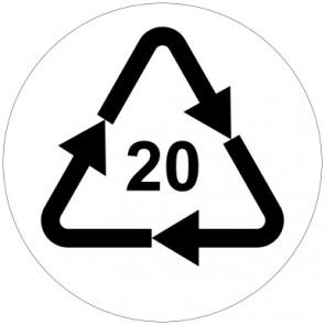 Aufkleber Recycling Code 20 · PAP · Wellpappe | rund · weiß
