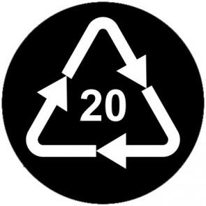 Aufkleber Recycling Code 20 · PAP · Wellpappe | rund · schwarz