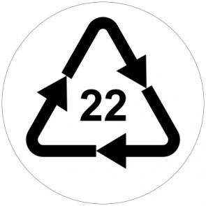 Aufkleber Recycling Code 22 · PAP · Papier | rund · weiß