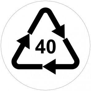 Schild Recycling Code 40 · FE · Eisen/Stahl | rund · weiß