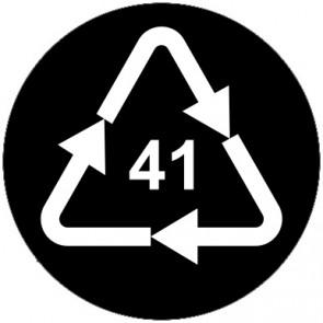 Aufkleber Recycling Code 41 · ALU · Aluminium | rund · schwarz